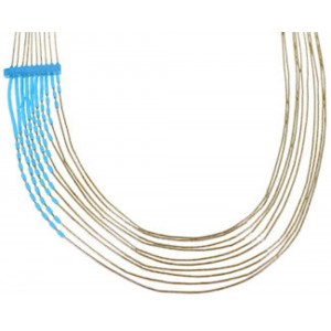 Turquoise Liquid 12 Karat Gold Filled 10-Strand Necklace PX35414