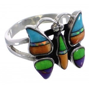 Turquoise Multicolor Sterling Silver Butterfly Ring Size 5-3/4 AS45862