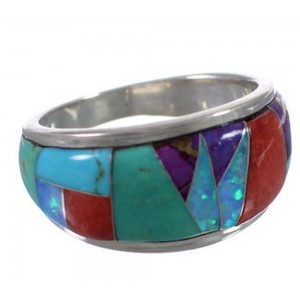 Whiterock Multicolor Inlay Sterling Silver Ring Size 8-1/2 EX30032