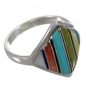 Sterling Silver Multicolor Inlay Jewelry Ring Size 5-1/2 UX34343