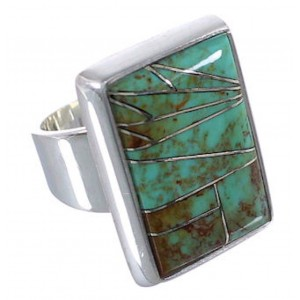 Sturdy Turquoise Inlay Sterling Silver Ring Size 5-3/4 WX37416