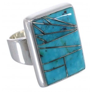 Sturdy Silver And Turquoise Inlay Ring Size 7-1/4 WX37512