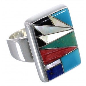 High Quality Multicolor And Sterling Silver Ring Size 5-3/4 WX37634