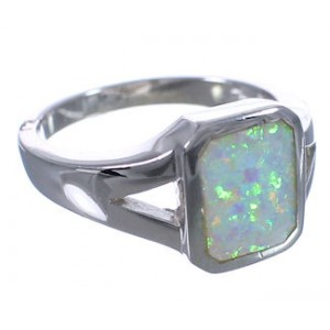 Southwest Opal Sterling Silver Ring Size 7-1/4 EX53231