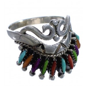 Silver And Multicolor Needlepoint Ring Size 6-3/4 PX43577