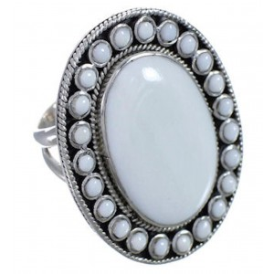 White Agate And Sterling Silver Ring Size 6-1/2 PX43654