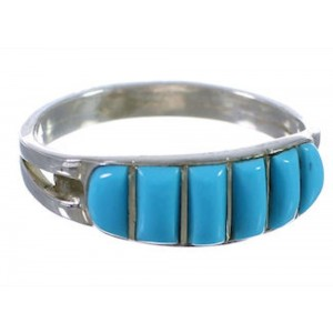 Sterling Silver Jewelry Turquoise Inlay Ring Size 6 HS34222