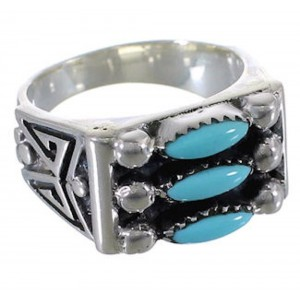 Turquoise Well Built Needlepoint Silver Ring Size 8-1/2 VX37171