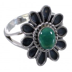 Southwestern Turquoise Flower Silver Ring Size 5-3/4 VX37282