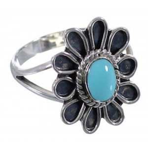 Sterling Silver Southwestern Turquoise Flower Ring Size 8-1/2 VX37354