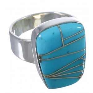 High Quality Turquoise Inlay Southwestern Ring Size 6-1/4 EX40369