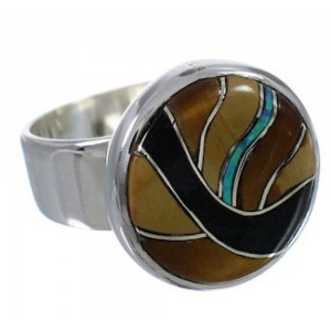 Sturdy Multicolor Southwestern Silver Ring Size 7-3/4 WX37928