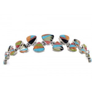 Turquoise Multicolor Sterling Silver Whiterock Link Bracelet AS29608