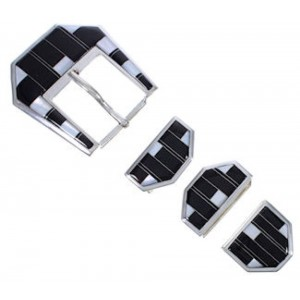 Mother Of Pearl Black Silver Jewelry Ranger Belt Buckle RS39374