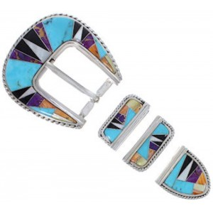 Silver Jewelry Multicolor Turquoise Ranger Belt Buckle RS39329