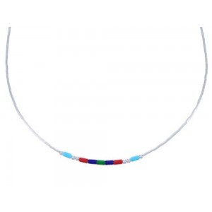 "Hand Strung Liquid Silver & Multicolor 16"" Necklace Jewelry LS37MC"