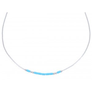"Hand Strung Liquid Silver & Blue Turquoise 16"" Necklace Jewelry LS37BT"