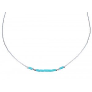 "Hand Strung Liquid & Green Turquoise 16"" Necklace Jewelry LS37GT"