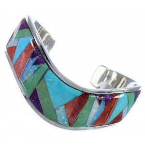 Sterling Silver Sunrise Multicolor Inlay Whiterock Bracelet NS45981