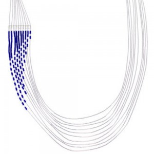 Hand Strung Liquid Sterling Silver Lapis Waterfall Necklace LS147L