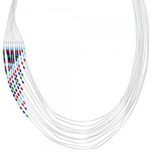 Hand Strung Liquid Silver Multicolor Waterfall Necklace LS147MC
