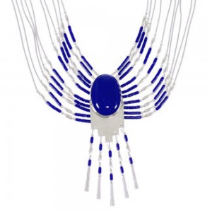 Genuine Liquid Sterling Silver & Lapis Peacock Necklace  PEACOCKL