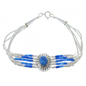 Genuine Liquid Sterling Silver Denim Lapis Concho Bracelet CB5D