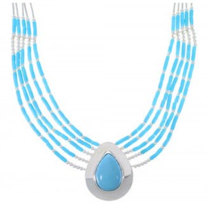 Turquoise & Liquid Sterling Silver Tear Drop Necklace JS2944