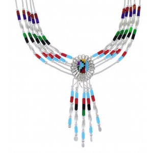 Multicolor And Genuine Liquid Silver Concho Necklace CN5MC