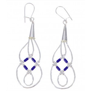 Genuine Liquid Sterling Silver Lapis Basket Weave Earrings LS44L
