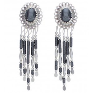 Sterling Silver Hematite Concho Clip On Earrings AS3009