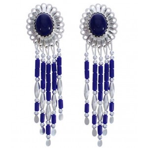 Hand Made Sterling Silver Lapis Clip On Dangle Concho Earrings CCE5L