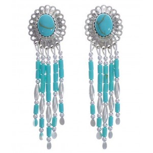 Green Turquoise & Silver Concho Clip On Earrings AS2979