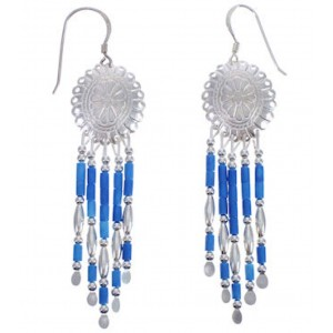 Denim Lapis Silver Concho Hook Dangle Earrings BE19D
