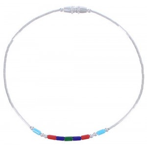 Hand Strung Liquid Silver & Multicolor Bead Bracelet Jewelry LS36MC