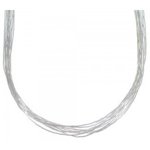 "Liquid Sterling Silver 10 Strands 24"" Necklace Jewelry LS1024"