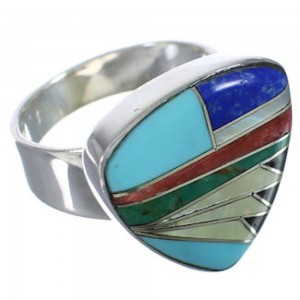 Silver High Quality Multicolor Jewelry Ring Size 7-1/4 PX40484