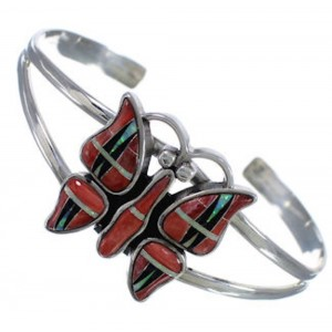 Red Oyster Shell Multicolor Southwest Butterfly Cuff Bracelet EX28153