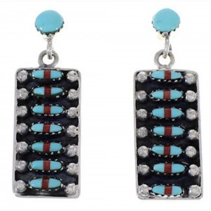 Turquoise And Coral Southwestern Post Dangle Earrings PX32857