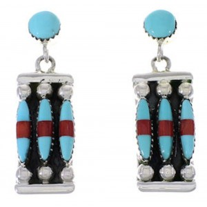 Coral Jewelry Turquoise Silver Post Dangle Earrings PX32870