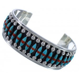 Turquoise Coral Sterling Silver Southwest Sturdy Cuff Bracelet EX28330