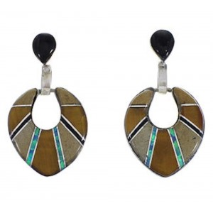 Southwest Sterling Silver And Multicolor Inlay Earrings EX31516