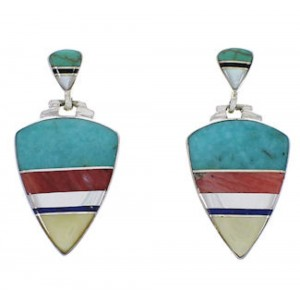 Southwestern Multicolor Inlay Silver Earrings EX31555