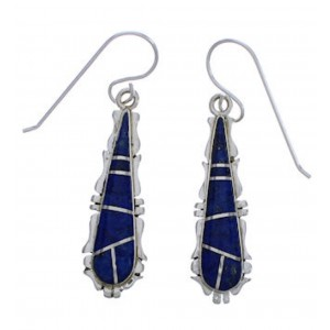 Lapis Inlay Silver Hook Dangle Earrings FX31436