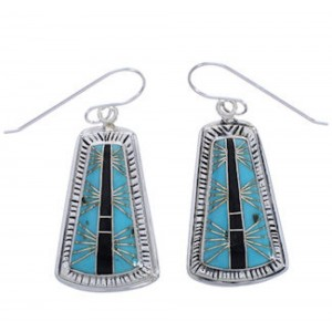 Silver Southwest Turquoise Jet Inlay Earrings FX31439