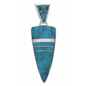 Genuine Sterling Silver Turquoise Inlay Southwest Pendant EX28907