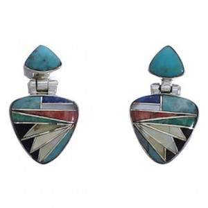 Multicolor Inlay And Sterling Silver Earrings EX31607