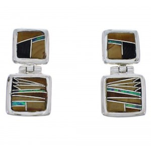 Multicolor Inlay Sterling Silver Post Dangle Earrings FX31008