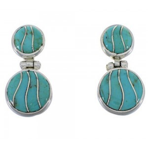 Turquoise Southwest Silver Post Dangle Earrings FX31023