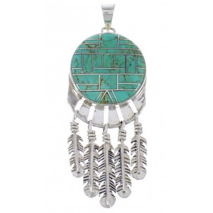 Southwestern Feather Turquoise Jewelry Pendant PX28986